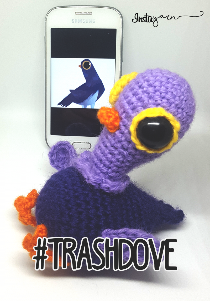 TrashDove, the Social Pigeon – Amigurumi (US terms)